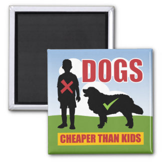 Dogs vs Kids Funny Slogan Square Magnet