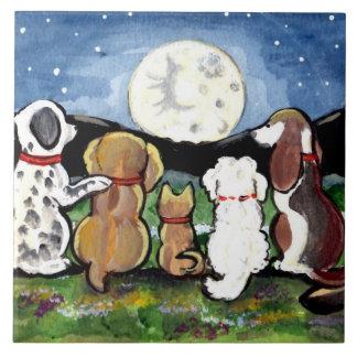 "Dogs Watching Moon Dark Blue 6"" Tile Trivet"