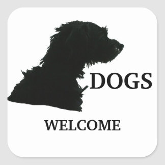 Dogs Welcome Square Sticker