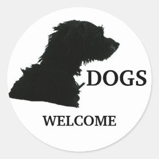 Dogs Welcome Round Sticker