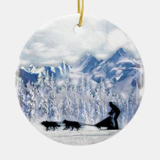 Dogsledding Ceramic Ornament