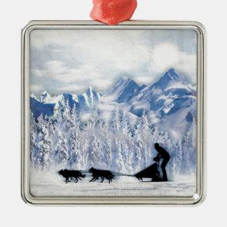 Dogsledding Metal Ornament