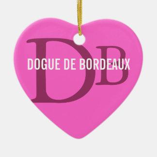 Dogue de Bordeaux Breed Monogram Ceramic Heart Decoration