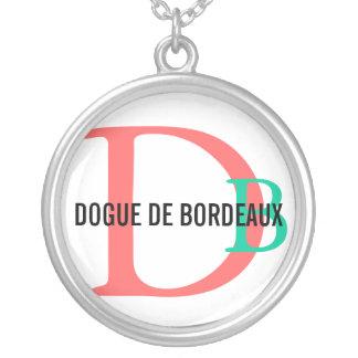 Dogue de Bordeaux Breed Monogram Round Pendant Necklace