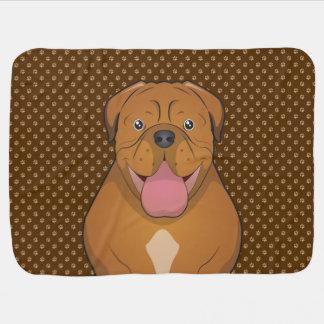 Dogue de Bordeaux Cartoon Paws Baby Blanket
