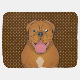 Dogue de Bordeaux Cartoon Paws Receiving Blanket