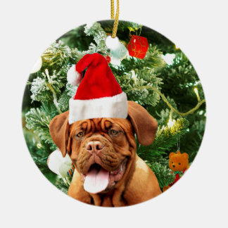 Dogue de Bordeaux Christmas Tree Snowman Gift Box Round Ceramic Decoration