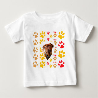Dogue de Bordeaux Dog Heart Paws Print Baby T-Shirt