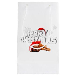 Dogue de Bordeaux dog Santa Hat Merry Christmas Small Gift Bag