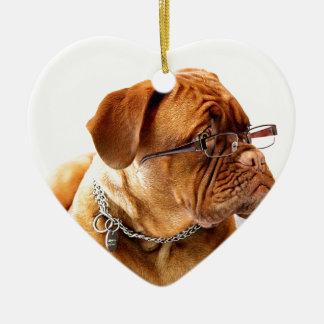 dogue de bordeaux dog wearing glasses ceramic ornament
