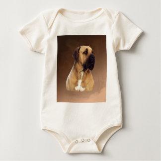 Dogue De Bordeaux Mastiff Dog Portrait Painting Baby Bodysuit