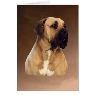 Dogue De Bordeaux Mastiff Dog Portrait Painting Card