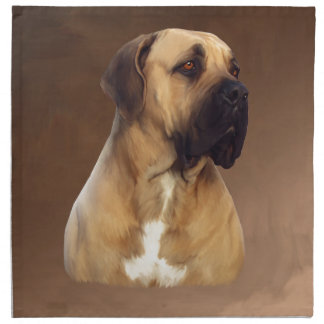 Dogue De Bordeaux Mastiff Dog Portrait Painting Napkin