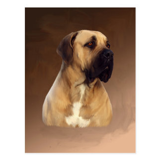 Dogue De Bordeaux Mastiff Dog Portrait Painting Postcard