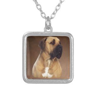 Dogue De Bordeaux Mastiff Dog Portrait Painting Silver Plated Necklace