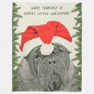 Dogue de Bordeaux Merry Little Christmas Fleece Blanket
