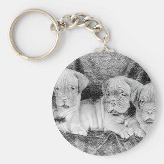 Dogue de Bordeaux puppies Basic Round Button Key Ring
