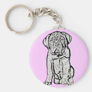 Dogue de Bordeaux puppy kechain Basic Round Button Key Ring
