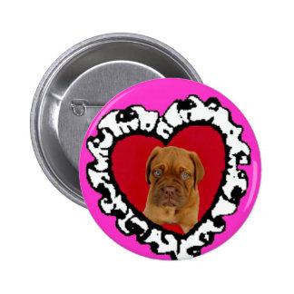 Dogue de Bordeaux Valentine's puppy button
