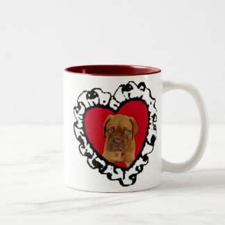Dogue de Bordeaux Valentine's puppy large mug