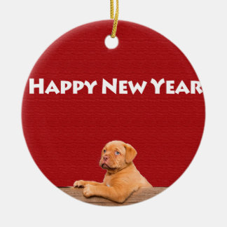 Dogue de Bordeaux wishing Happy New Year Round Ceramic Decoration
