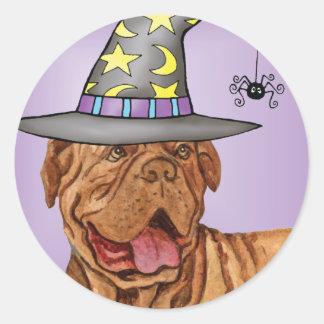 Dogue de Bordeaux Witch Round Sticker