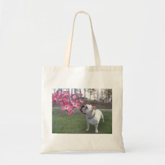 Dogwood and bulldog tote bag