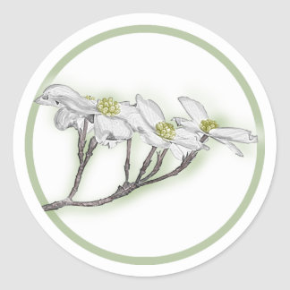 Dogwood Blooms Classic Round Sticker