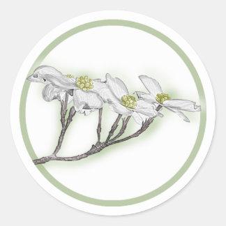 Dogwood Blooms Round Sticker