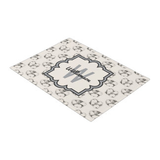 Dogwood Blossom Pattern in Ecru Personalized Doormat