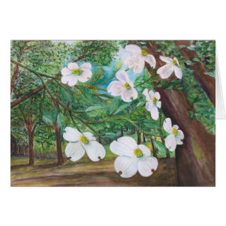 Dogwood Canopy Watercolor and Acrylic Painting Card