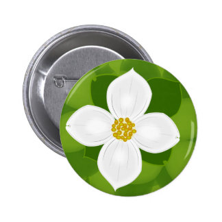 Dogwood Flower on green background 6 Cm Round Badge