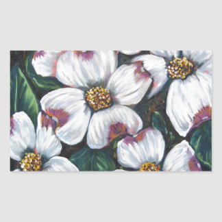 dogwood flower rectangular sticker