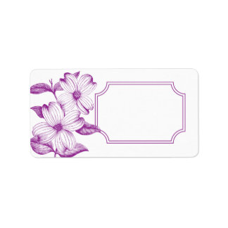 Dogwood Flowers Address Label in Plum - No Text