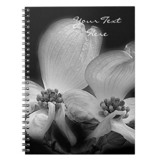 Dogwood Flowers In Black And White Spiral Note Books