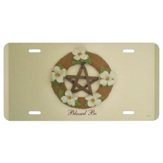 Dogwood Pentacle Wreath Witch Wiccan Pagan License Plate