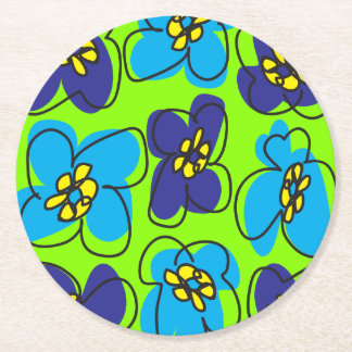 Dogwood Retro Round Coaster in Fresh Green