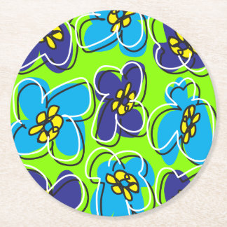 Dogwood Retro Round Coaster in Fresh Green/White