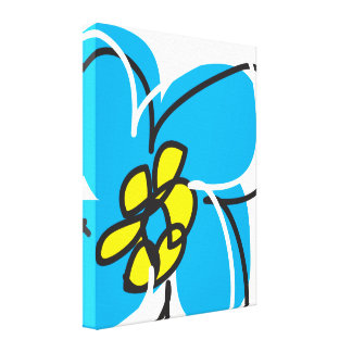 Dogwood Retro Wall Art Canvas in in Blue & White