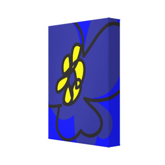 Dogwood Retro Wall Art Canvas in Mysterious Blue