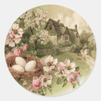 Dogwood Tree Bird Nest Egg Cottage Classic Round Sticker