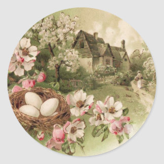 Dogwood Tree Bird Nest Egg Cottage Round Sticker