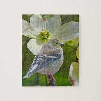 """Dogwood Visitor"" Finch Songbird Jigsaw Puzzle"