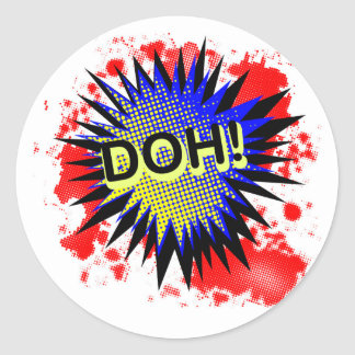 Doh Comic Exclamation Classic Round Sticker