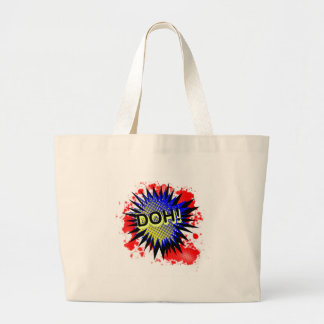 Doh Comic Exclamation Large Tote Bag