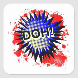 Doh Comic Exclamation Square Sticker