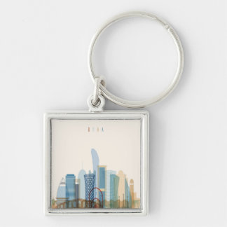 Doha, Qatar | City Skyline Key Ring