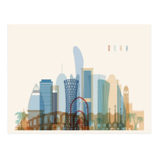Doha, Qatar | City Skyline Postcard