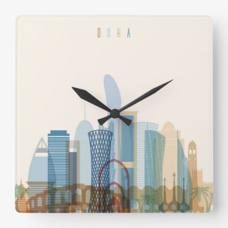 Doha, Qatar | City Skyline Square Wall Clock