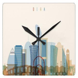 Doha, Qatar | City Skyline Wall Clocks